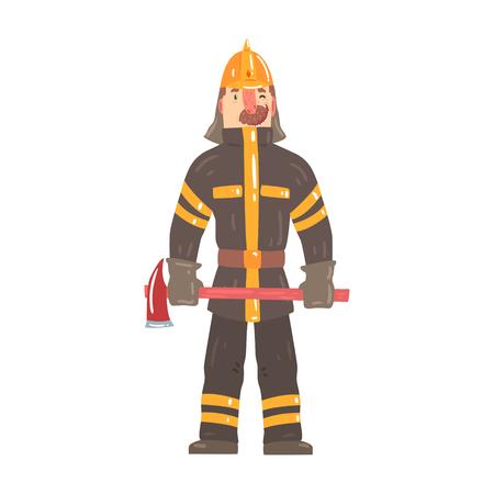 Brandbestrijder in veiligheidshelm en beschermende pak permanent met bijl cartoon karakter vector illustratie geïsoleerd op een witte achtergrond