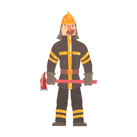 fireman: Firefighter in safety helmet and protective suit standing with axe cartoon character vector Illustration isolated on a white background