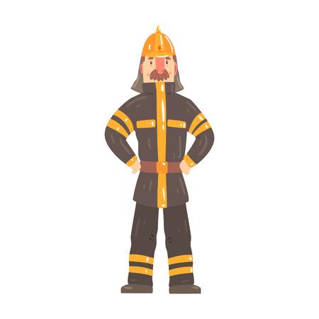 Brandbestrijder karakter in veiligheidshelm en beschermende pak staande cartoon vector illustratie Stock Illustratie