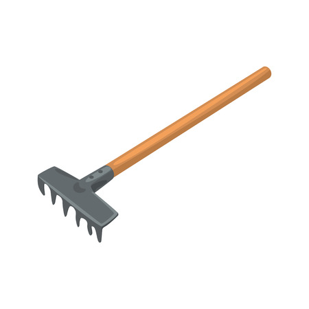 Garden rake, agriculture tool cartoon vector Illustration