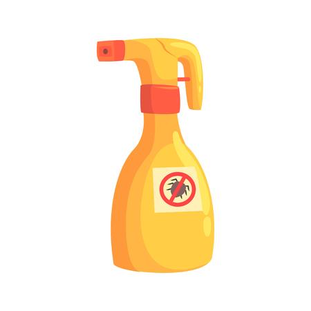 Bouteille de pulvérisateur de mite ou tique insecticide vecteur de dessin animé Illustration Banque d'images - 81450704