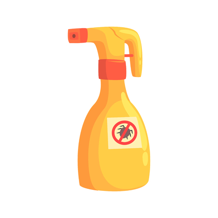 Sprayer bottle of mite or tick insecticide cartoon vector Illustration