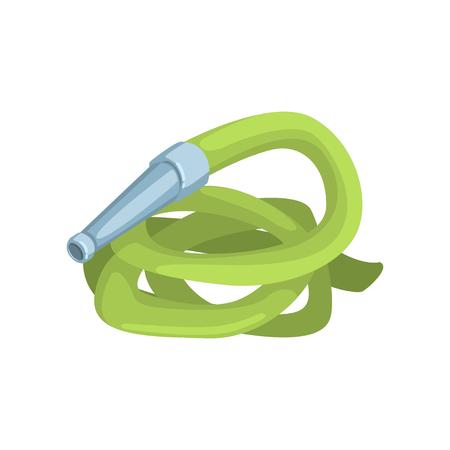 Green garden hose, agriculture tool cartoon vector Illustration