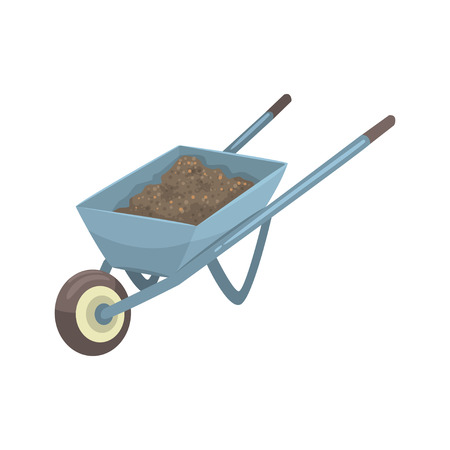 Wheelbarrow full of soil or compost cartoon vector Illustration