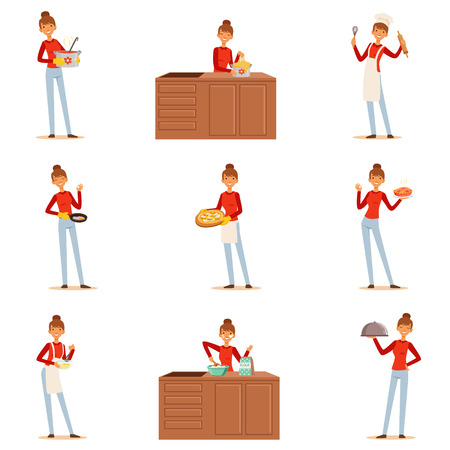 Smiling woman chef cook in white apron preparing and serving a variety of dishes, set of colorful detailed vector Illustrations
