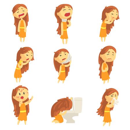 만화 불행 한여자가 다양 한 포즈에서 질병의 증상과 고통에서 고통, 다채로운 상세한 벡터 일러스트