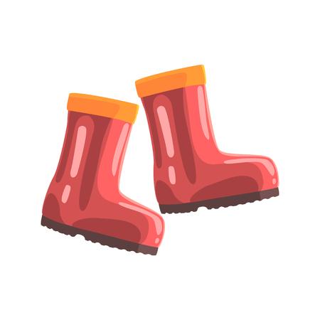 ブーツ赤ゴムのペアが漫画のベクトル図  イラスト・ベクター素材