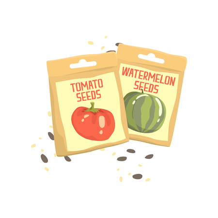 Packs of tomato and watermelon seeds cartoon vector Illustration
