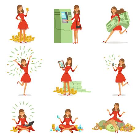 Gelukkige jonge miljonair vrouw in een rode jurk genieten van haar geld en rijkdom, set van kleurrijke gedetailleerde vector Illustraties