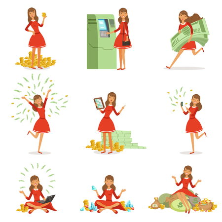 Happy young millionaire woman in a red dress enjoying her money and wealth, set of colorful detailed vector Illustrations Illustration