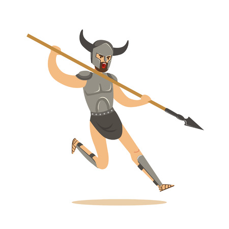 Warrior character, man in combat armor and horned helmet running with a spear vector Illustration