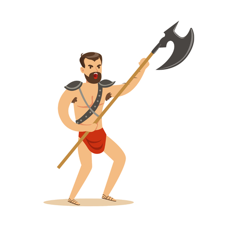 Warrior character, naked man in a red loincloth with poleaxe vector Illustration Illustration