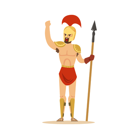 Warrior character, naked man in a helmet and a loincloth holding a long spear vector Illustration Çizim