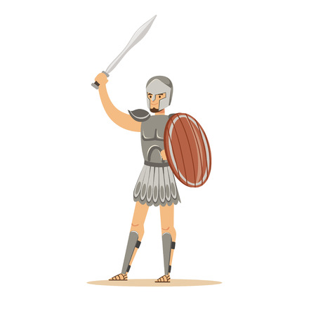 Warrior character, man in historical armor and helmet holding wooden shield and sword vector Illustration Çizim
