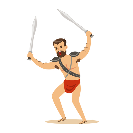 Warrior character, naked man in a red loincloth with two swords vector Illustration