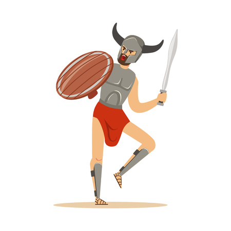 Warrior character, man in horned helmet running withswprd and wooden shield vector Illustration