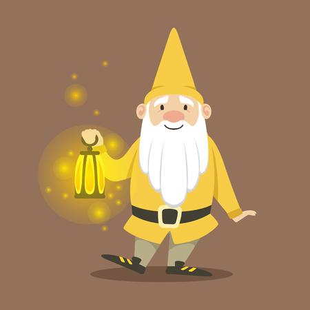 Nain mignon dans une veste jaune et chapeau debout avec petite lampe à huile brûlante vector Illustration Banque d'images - 81450753