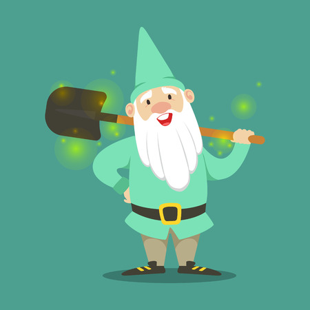 Cute dwarf in a light blue jacket and hat standing with shovel vector Illustration