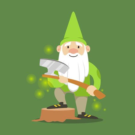 Cute enano en una chaqueta verde y sombrero de pie con el hacha ilustración vectorial Foto de archivo - 81450755