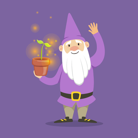 Cute dwarf in a purple jacket and hat standing flower pot vector Illustration Ilustração