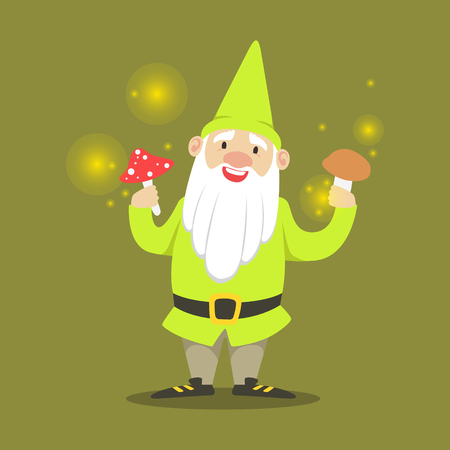 Cute smiling dwarf standing and holding mushrooms vector Illustration