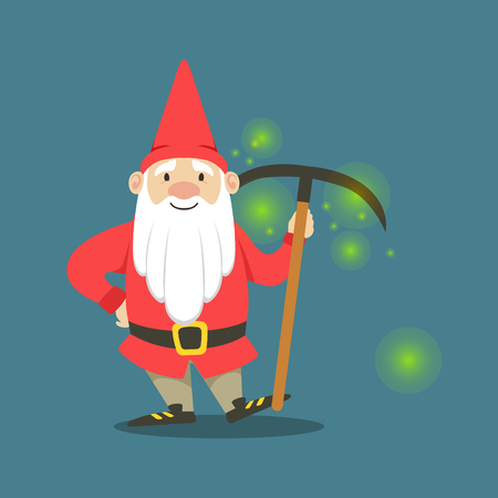 Cute dwarf in a red jacket and hat standing with pickaxe vector Illustration