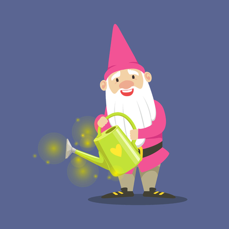 Cute dwarf gardener in pink clothes standing and holding a watering can vector Illustration on a blue background