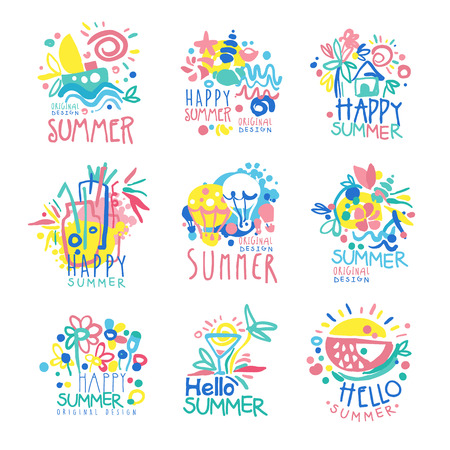 Happy Summer  template original design set, colorful hand drawn vector Illustrations on a white background