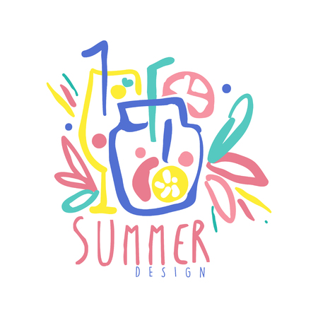 Summer logo template colorful hand drawn vector Illustration Ilustracja
