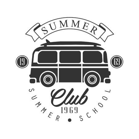 Club estivo dal 1965, modello di scuola estiva, illustrazione vettoriale in bianco e nero Archivio Fotografico - 81518015