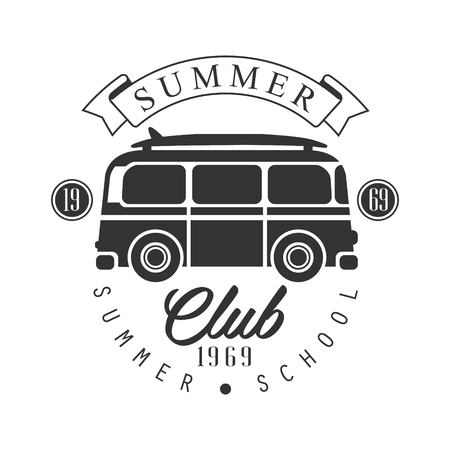 Summer club since 1965, summer school  template, black and white vector Illustration
