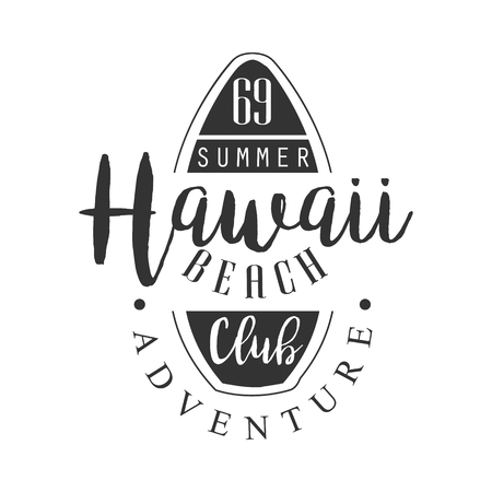 Hawaii beach adventure club template, black and white vector Illustration