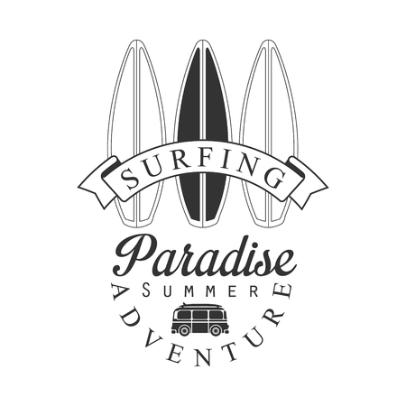 Surfing paradise summer adventure logo template, black and white vector Illustration