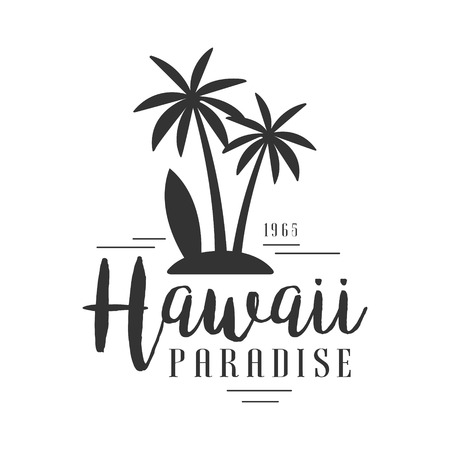 Hawaii paradise, since 1965 logo template, black and white vector Illustration Vettoriali
