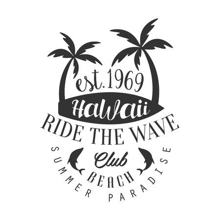 Berijd de Golf Hawaii Beach Club, zomer paradijs sjabloon, zwart en wit vector illustratie voor Label, badge, sticker, banner, kaart, advertentie, tag Stock Illustratie
