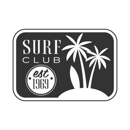 Surf club, est 1969 logo template, black and white vector Illustration Illustration
