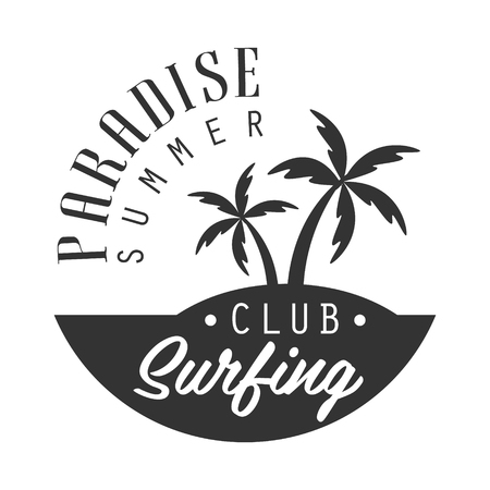 Paradise summer, surfing club logo template, black and white vector Illustration Vettoriali