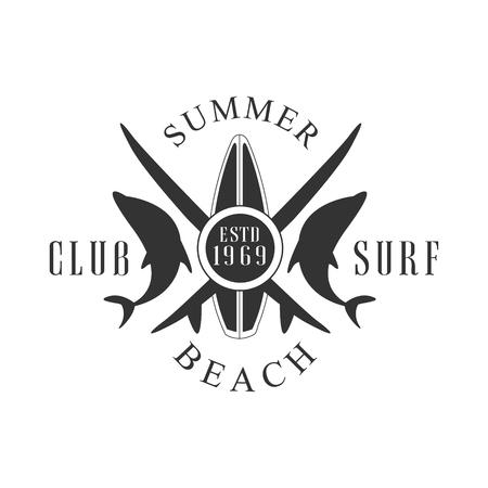 Summer beach surf club logo template, black and white vector Illustration