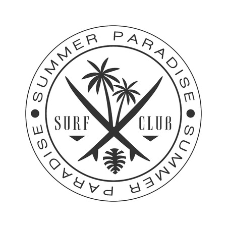 Summer paradise surf club logo template, black and white vector Illustration