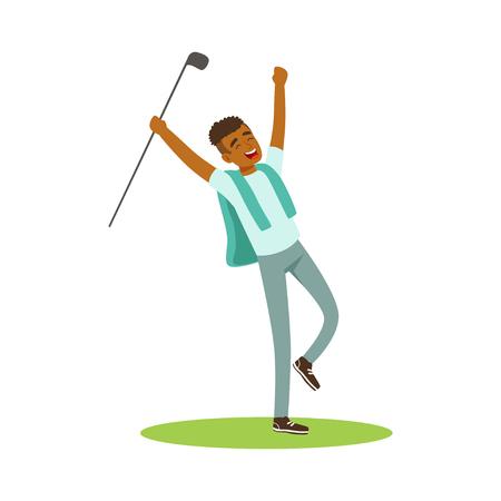 Smiling man golfer celebrating his win vector Illustration Imagens - 81628223