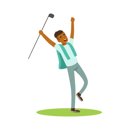 Smiling man golfer celebrating his win vector Illustration