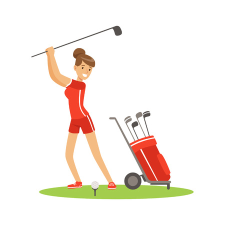 Smiling woman golfer in red uniform with golf equipment vector Illustration