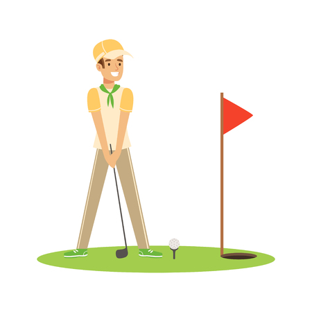 笑みを浮かべて男ゴルファー ボール ベクトル図を押す  イラスト・ベクター素材