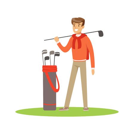 ゴルフ プレーヤーのゴルフクラブの袋と青いプルオーバーの地位にベクトル イラスト  イラスト・ベクター素材