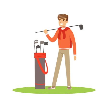 Golf player in a blue pullover standing with a bag of golf clubs vector Illustration Illustration