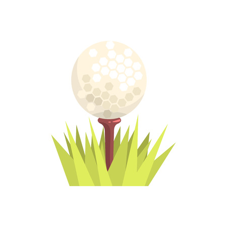 Golf ball on a tee tee in green grass, golf sport equipment cartoon vector Illustration Illustration