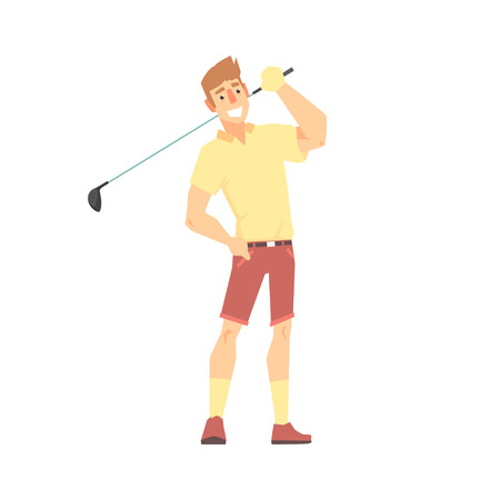 Smiling cartoon golf palyer character standing with golf club vector Illustration