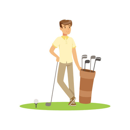 Smiling man golfer with golf equipment vector Illustration