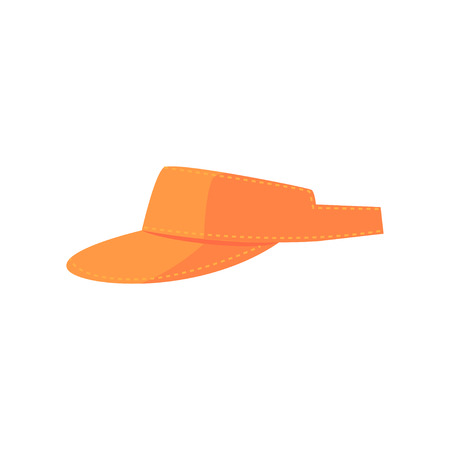 Orange golf visor, sport equipment cartoon vector Illustration