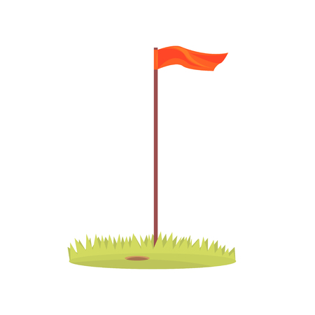 Red golf flag, golf sport equipment cartoon vector Illustration
